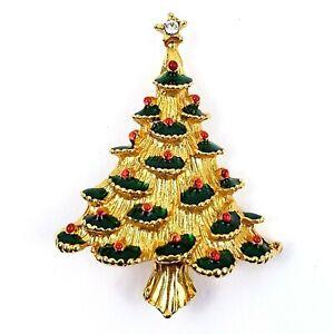 Vintage-Multi-Color-Rhinestone-Gold-Tone-Holiday-Christmas-Tree-Pin-Brooch