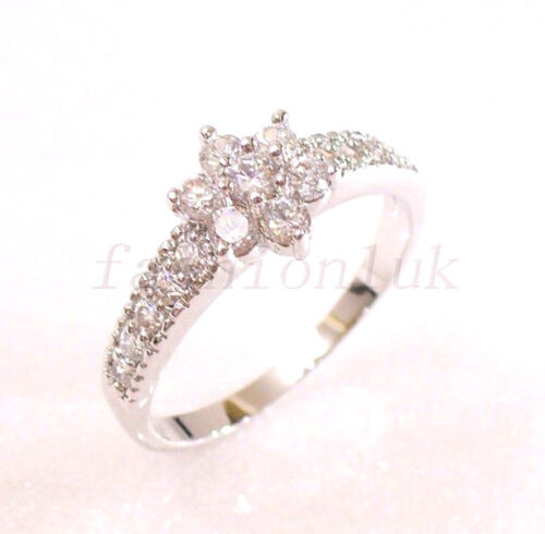 Womens White Gold Plated Simulated Diamond Studded Flower Luxury Ring Size N UK