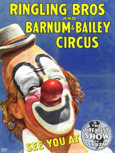 CIRCUS RINGLING BROS BARNUM BAILEY SHOW CLOWN ART PRINT POSTER BB7704