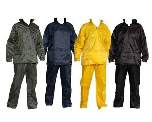 NEW WATERPROOF RAIN SUIT JACKET   TROUSER SET RAINSUIT WORK PVC MENS ... 1314f886a7265