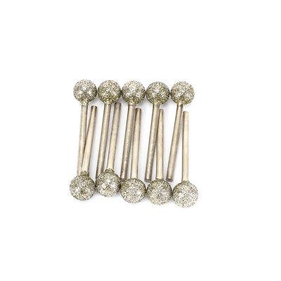 10Pcs Diamond Grinding Head Round Ball Spherical Rotary Tools  46Grit Shank 3mm