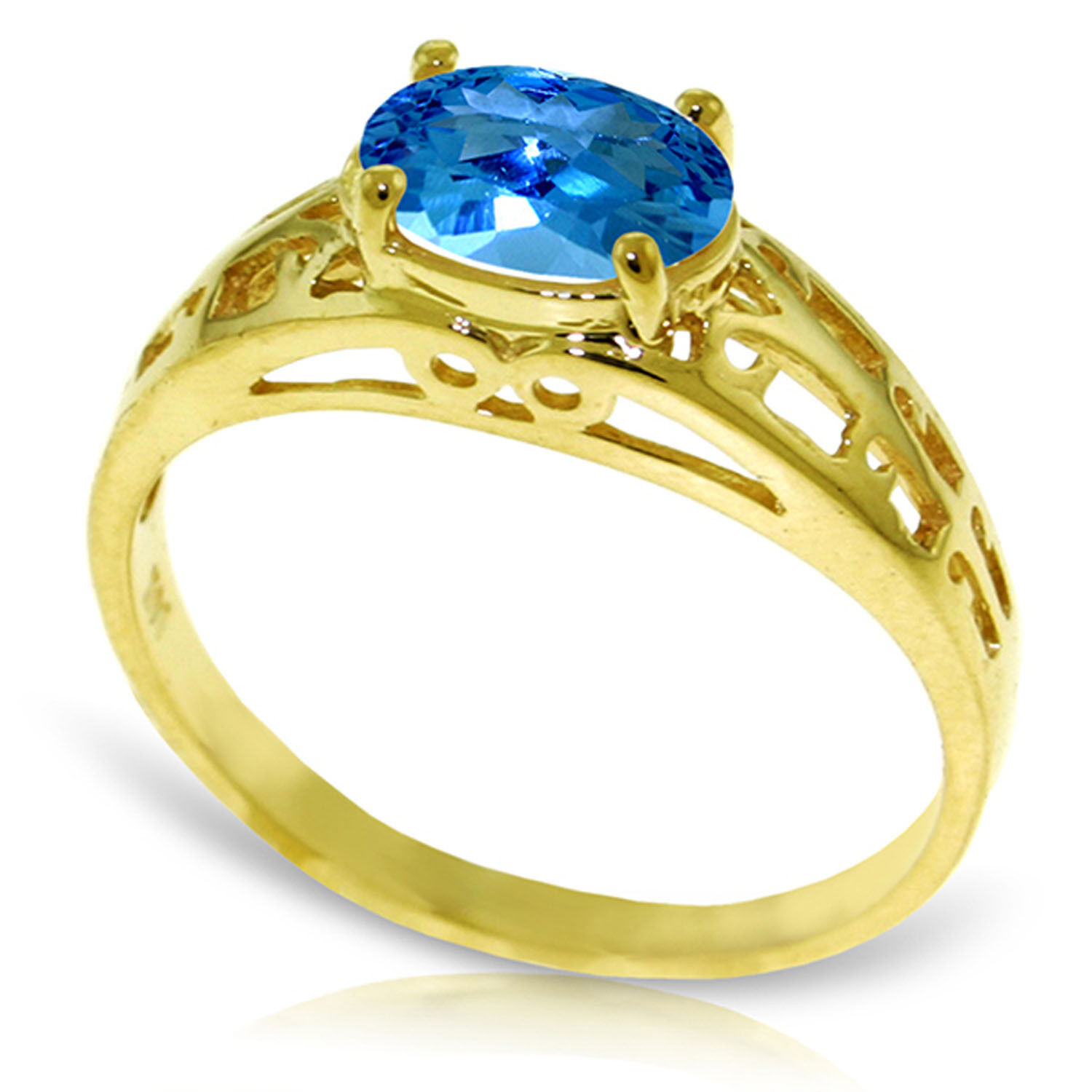 Brand New 1.15 CTW 14K Solid gold Filigree Ring Natural bluee Topaz