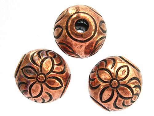5 en Cuivre Plaqué Fleur Motif Grand Trou Acrylique perles 2.4 mm 10 mm-Trou