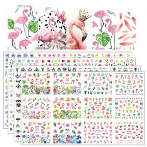 12pcs in1 Water Decals Nail Art Stickers Christmas Manicure Decoration Flamingo