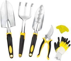 Garden Tools Set-6 Piece Cast-Aluminum Heavy Duty Gardening Kits