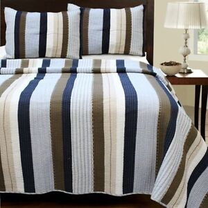 Beautiful Soft Blue Brown White Navy Taupe Beige Stripe