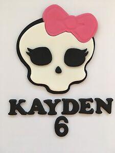 Super Edible Monster High Skull Personalised Birthday Halloween Cake Personalised Birthday Cards Beptaeletsinfo