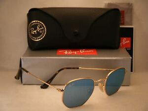Ray Ban 3548N Gold w Blue Mirror Flash Lens (RB3548N 001 9O 48mm ... bf581f2052