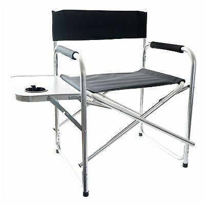 Aluminium Black Foldable Directors Camping Chair Outdoor Garden With Side Table For Online Ebay