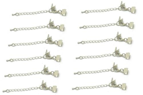 12 Clasp and Clips Ends Crimp Cord Extension Chain Clasp HOOK DIY Findings Craft