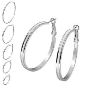 Clever 1 Paar Ohrringe In Silber Weiß In Versch. Größen Creolen Loops Edelstahl Damen