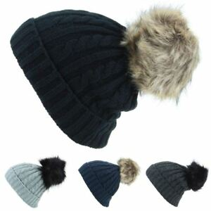 f9cb41f237c Cable Knit Hat Bobble Pom Beanie Rib Fur Big New Black Grey Navy Ski ...