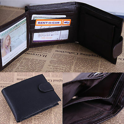 Hot Mens Luxury Soft Black/Brown Genuine Leather Wallet Credit Card Holder Purse