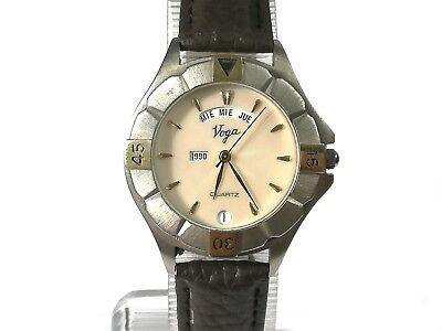 Detalles de Reloj pulsera hombre VOGA Quartz 888316 original Vintage con fecha funciona
