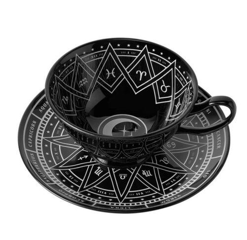 Gothic Teetasse /& Unterteller Zodiac Cup and Saucer Killstar schwarz weiss Mond