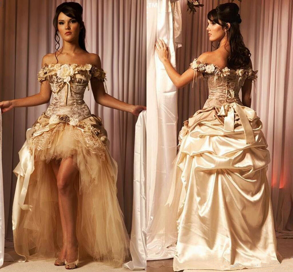 Sexy Champagne Hi-Low Quinceanera Dresses Lace Flower Victorian Formal Prom Gown