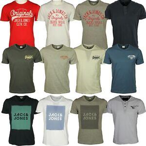 Da-Uomo-Jack-amp-Jones-Logo-Stampato-T-Shirt-Manica-Corta-Casual-Estate-Tee-Shirts