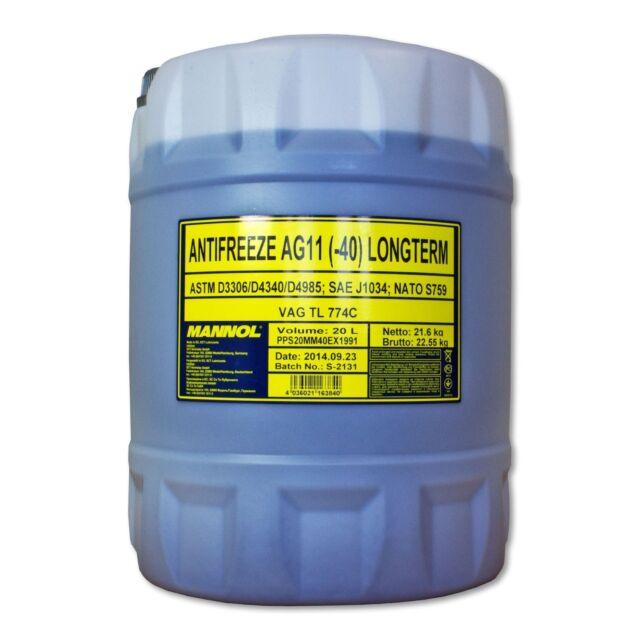 20 (1x20) Litro Mannol Anticongelante AG11 Fertiggemisch Azul 40 °C)