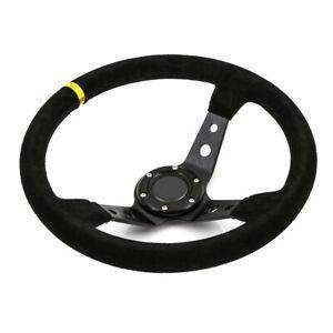 Universal-350mm-Deep-Dished-Steering-Wheel-Suede-fits-SPARCO-OMP-BOSS-HUB
