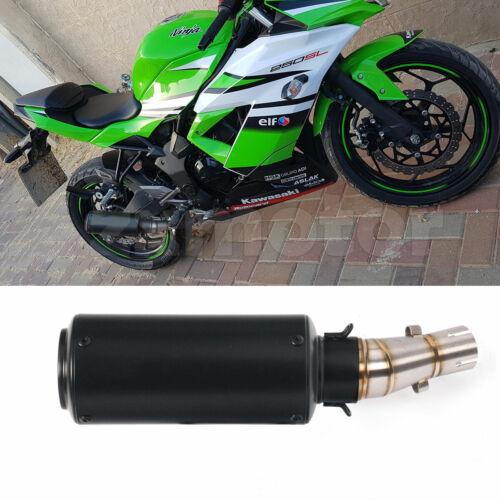 Exhaust Link Middle Pipe Can Black Muffler For Kawasaki Z250 Z300 Ninja 250r 300