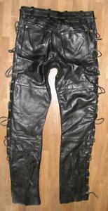 034-BLUES-BROS-034-Schnuer-LEDERJEANS-Biker-Lederhose-in-schwarz-in-W30-034-L33-034