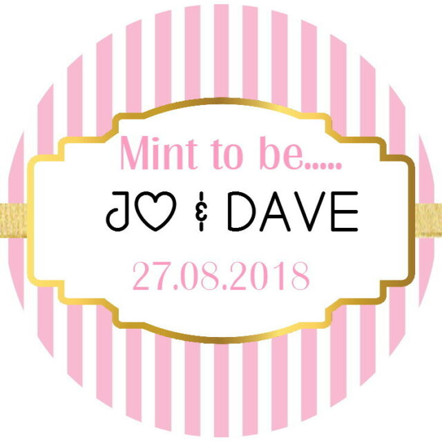 24 personalised gloss mint to be stickers for wedding favour sweets