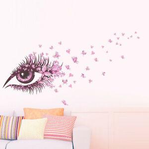 Schmetterling-Herz-Auge-Wandtattoo-Eye-Blumen-Wandsticker-Wandaufkleber-Folie