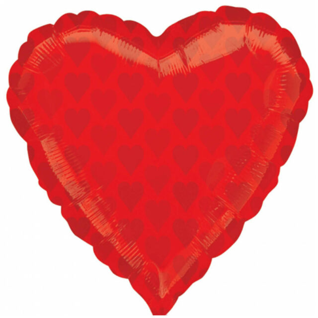 """22"""" Casino Night Party Card Suit Red Heart HEARTS Foil Jnr Shape Balloon"""