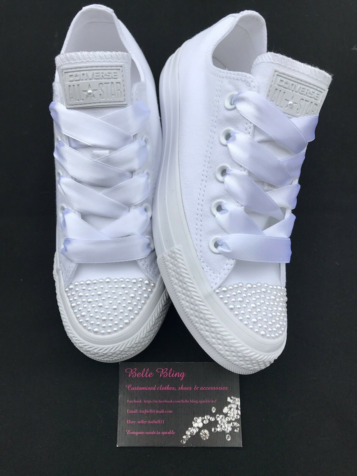 new product c6b50 990d9 Robe de mariage Converse Baskets mono perles blanches personnalisé 3 3 3 4  5 6 7 8 9 3eedae