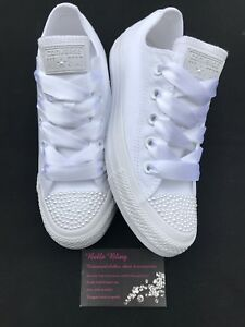 8ee1a6a3e5f222 Image is loading Wedding-Bridal-Converse-Trainers-Mono-White-Pearls -Personalised-