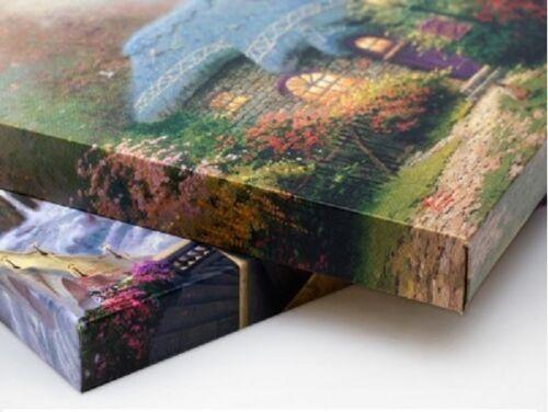 Thomas Kinkade Studios Mickey /& Minnie Sweetheart Bridge 14x14 Wrapped Canvas