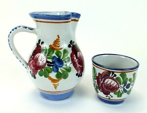 Vintage-J-GRAF-STOOB-Hand-Painted-Ceramic-Pottery-Pitcher-amp-Cup-MADE-IN-AUSTRIA