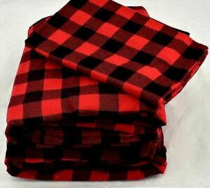 Martha Stewart Buffalo Check Red Black Queen Size Cotton Flannel Sheet Set Ebay