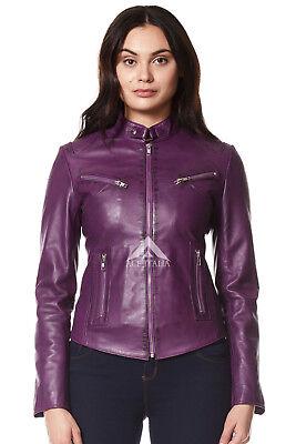 Ladies Leather Jackets BLUE CRUST Cool Retro Biker Style REAL NAPA  SR-01