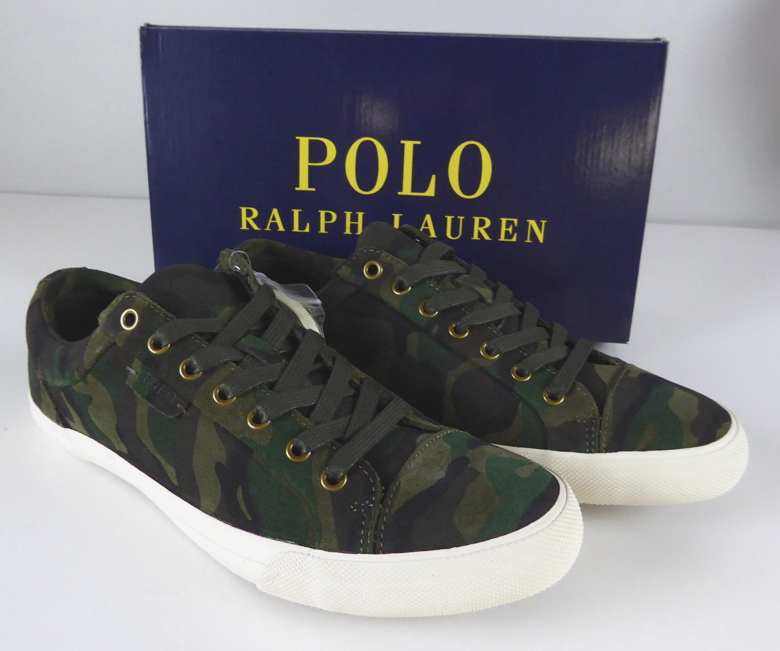 Polo Ralph Lauren Geffrey Camo Suede Leather sautope da ginnastica sautope NIB  100 Low Top Polo