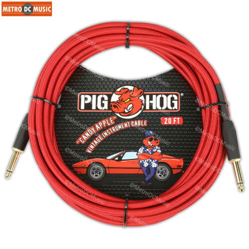 """2-Pack Pig Hog 1//4/"""" Candy Apple Red Guitar Instrument Cable Cord 20ft"""