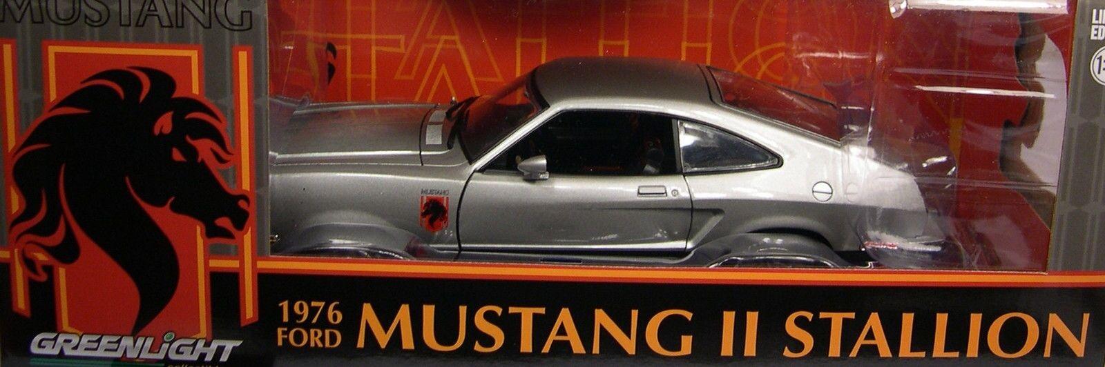 Plata 1976 Ford Mustang II Semental verdelight escala 1 18 Diecast metal coche