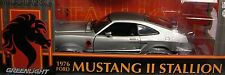 GREENLIGHT 1:18 SCALE DIECAST METAL SILVER & BLACK 1976 FORD MUSTANG II STALLION