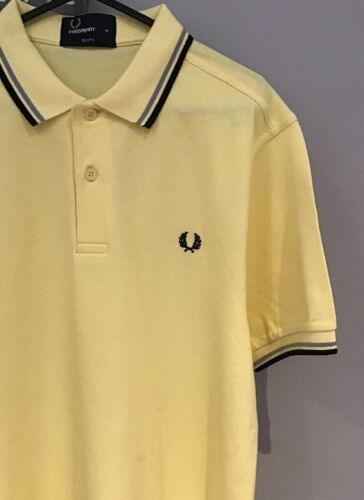 Twin Tipped Polo Shirt M-Slim Fit Soft Giallo * FRED PERRY
