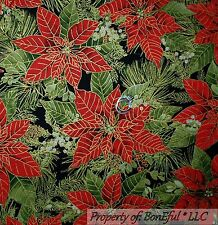 BonEful Fabric FQ Cotton Quilt Green Red Gold Poinsettia Flower Xmas Holly Berry