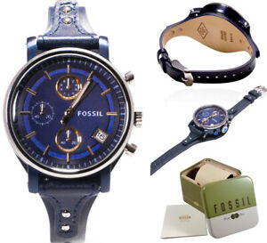 755d0ca1fa2f Image is loading Fossil-Watch-Women-Leather-Boyfriend-Blue-Chronograph-Cuff-