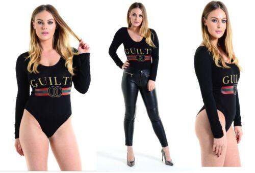 Ladies Guilty Print Celeb Inspire Leotard Bodysuit Playsuit Club Disco Partywear