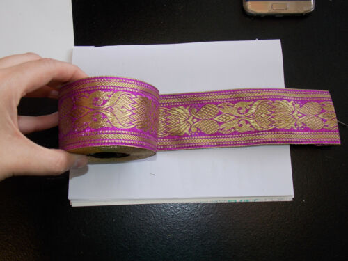 55mm magenta pink gold jacquard embroidered ribbon applique motif trimming decor