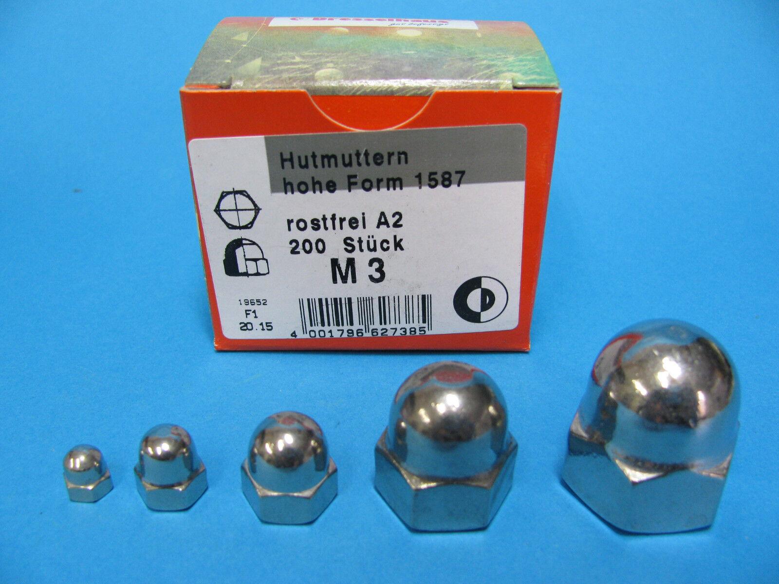 Hutmuttern Edelstahl V2a Din1587 Muttern Hut Muttern Va M3 bis M16 hohe Form