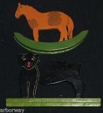Vintage 1940's  Handcarved and Painted Folk Art Rocking Horse & Black Cat