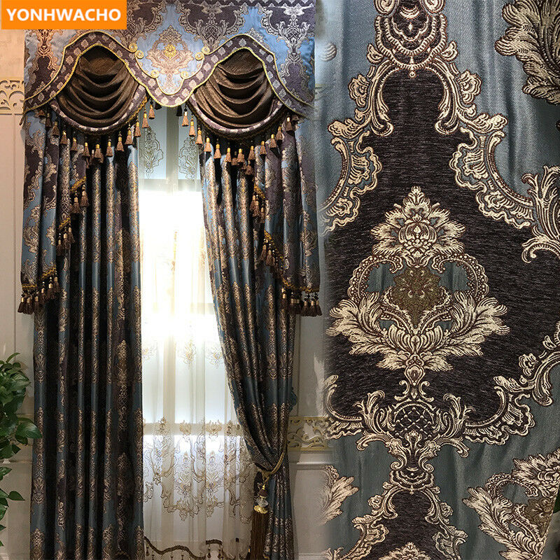 Tela De Chenille Retro de lujo europeo grueso negroout Cortina Tul cenefa N986