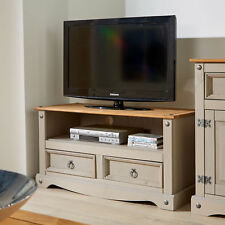 White Corona Pine Tv Stand Two Tone 2 Drawer Solid Wood Television