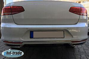 VW-Passat-3G-B8-ab-2014-Chrom-Auspuff-Attrappen-Blenden-Edelstahl-B-WARE