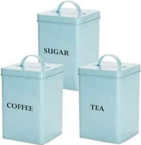 Image Is Loading Andrew James 3pc Tea Coffee Sugar Canister Set
