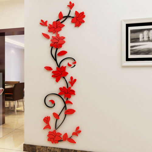 Art Mural Decal Flower Home Room Decor Wall Sticker 3D Mirror DIY Removable